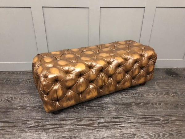 Antique Autumn Chesterfield Box Stool