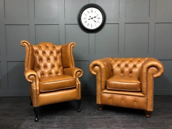 Crystal Bruciato Essex Chesterfield Club Chair With Wing Chair