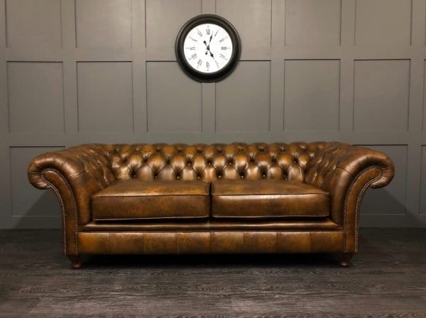 Authentic Hand Dyed Tan Leather London Chesterfield 3 Seat Sofa