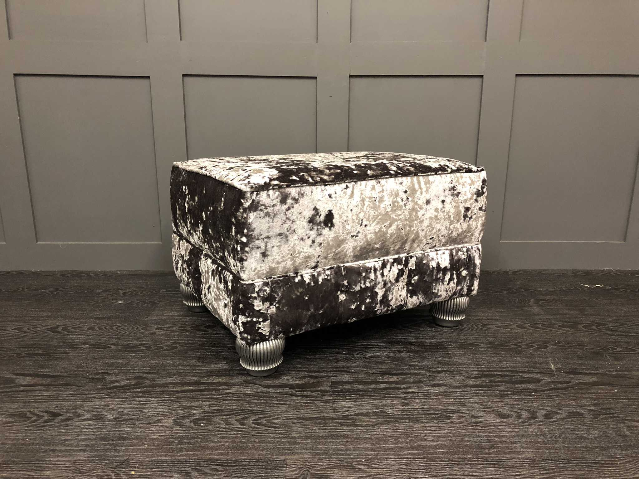 The London Footstool Crushed Velvet