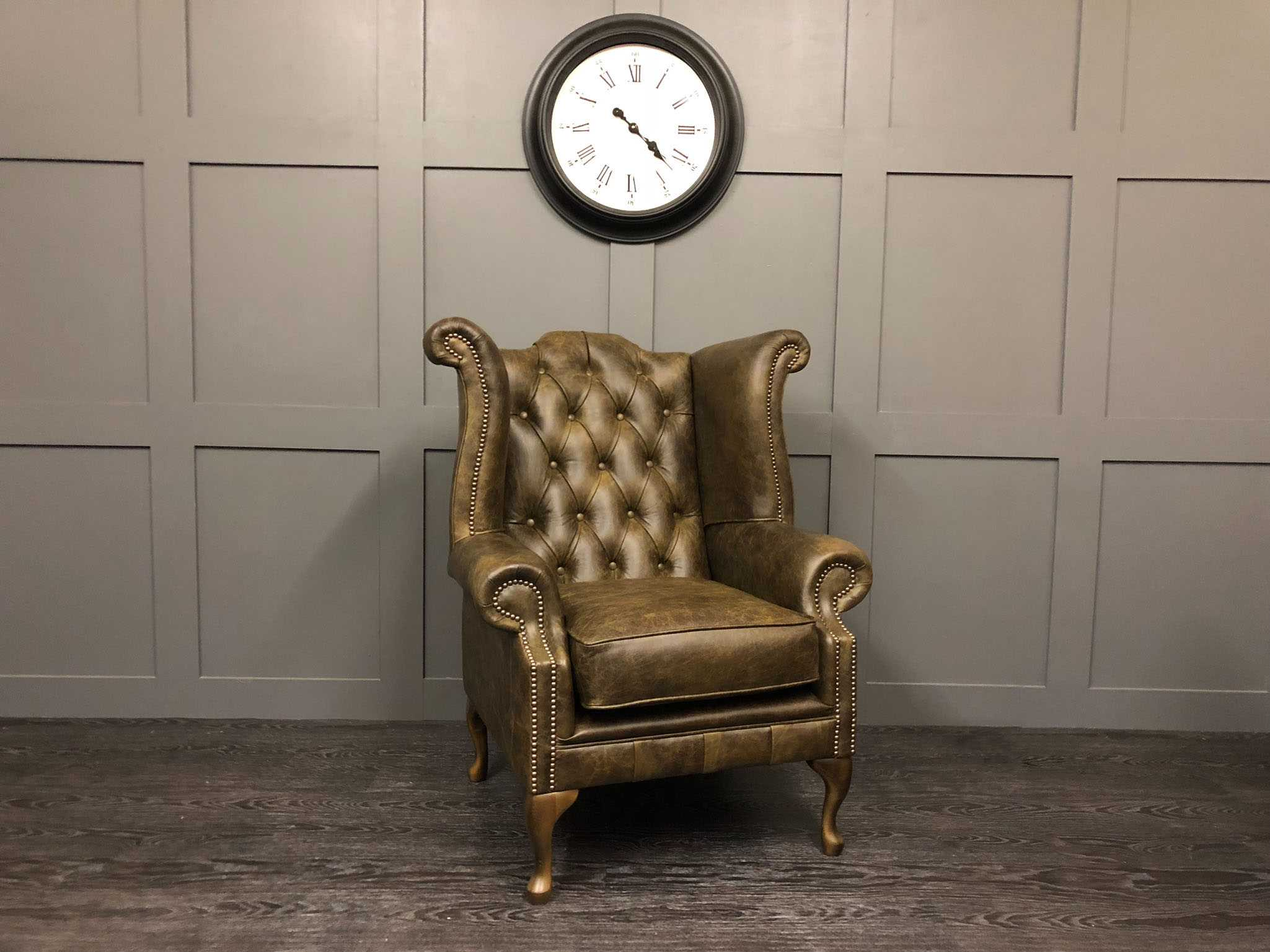 vintage brown wing chair