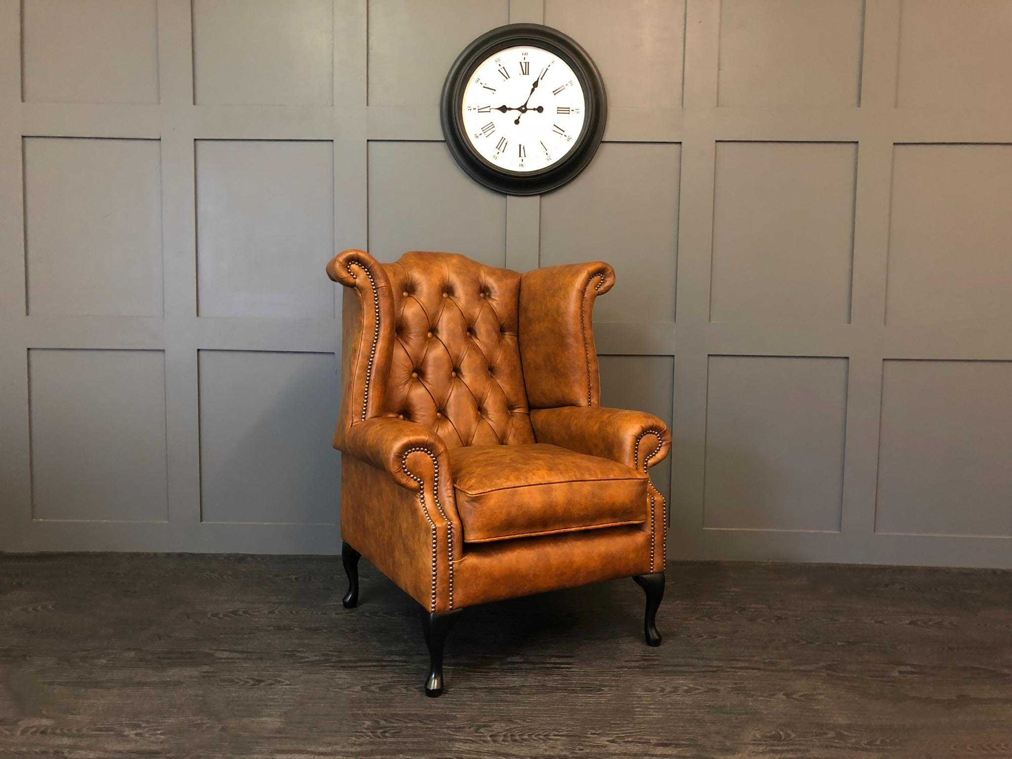vintage tan Leather kent wing chair Sale
