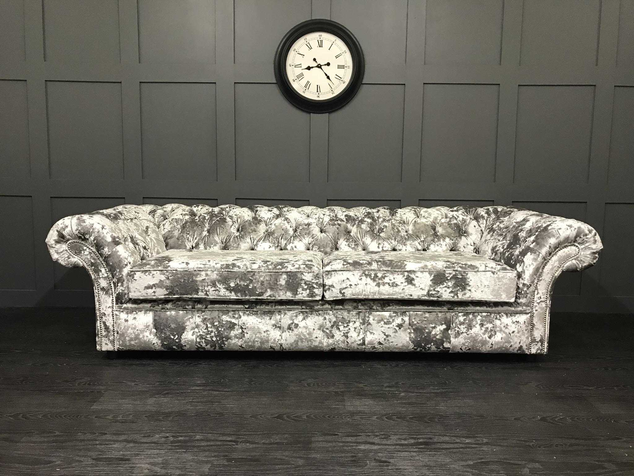 London chesterfield lustro argent sofa bed