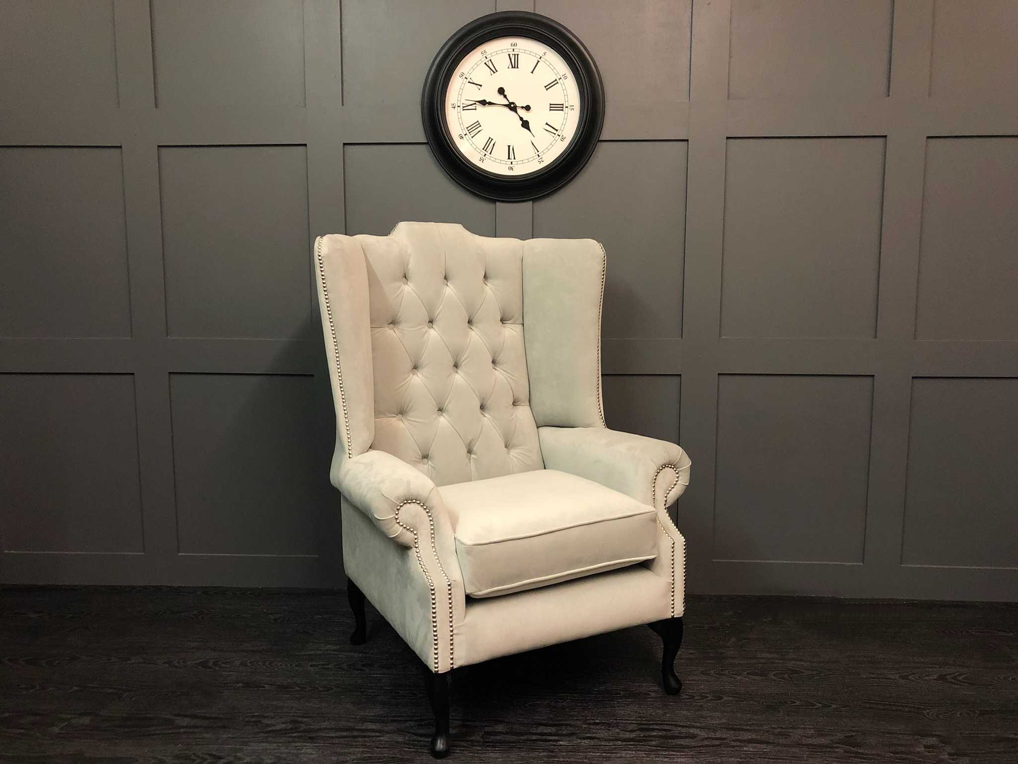 Plush velvet silver oakley 2 seat wing chair