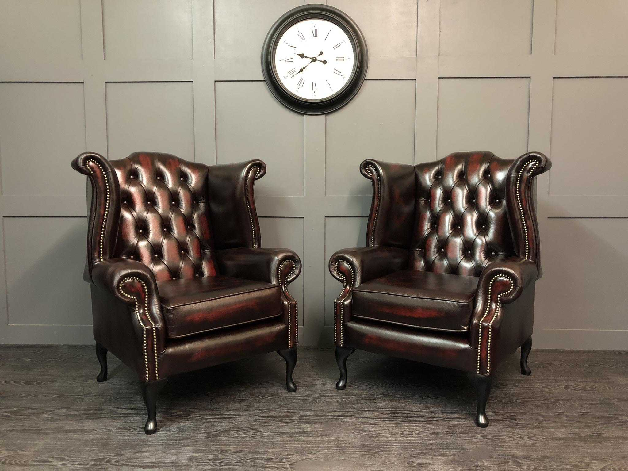 Kent Wing Chair Antique Oxblood Leather. Zoom Images
