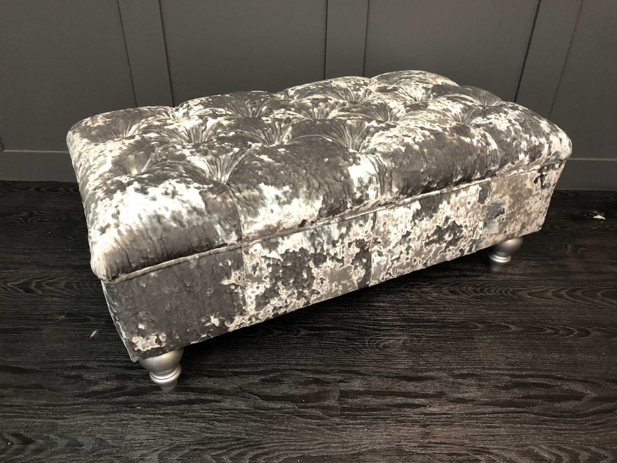 The Kendal Footstool in lustro crushed velvet