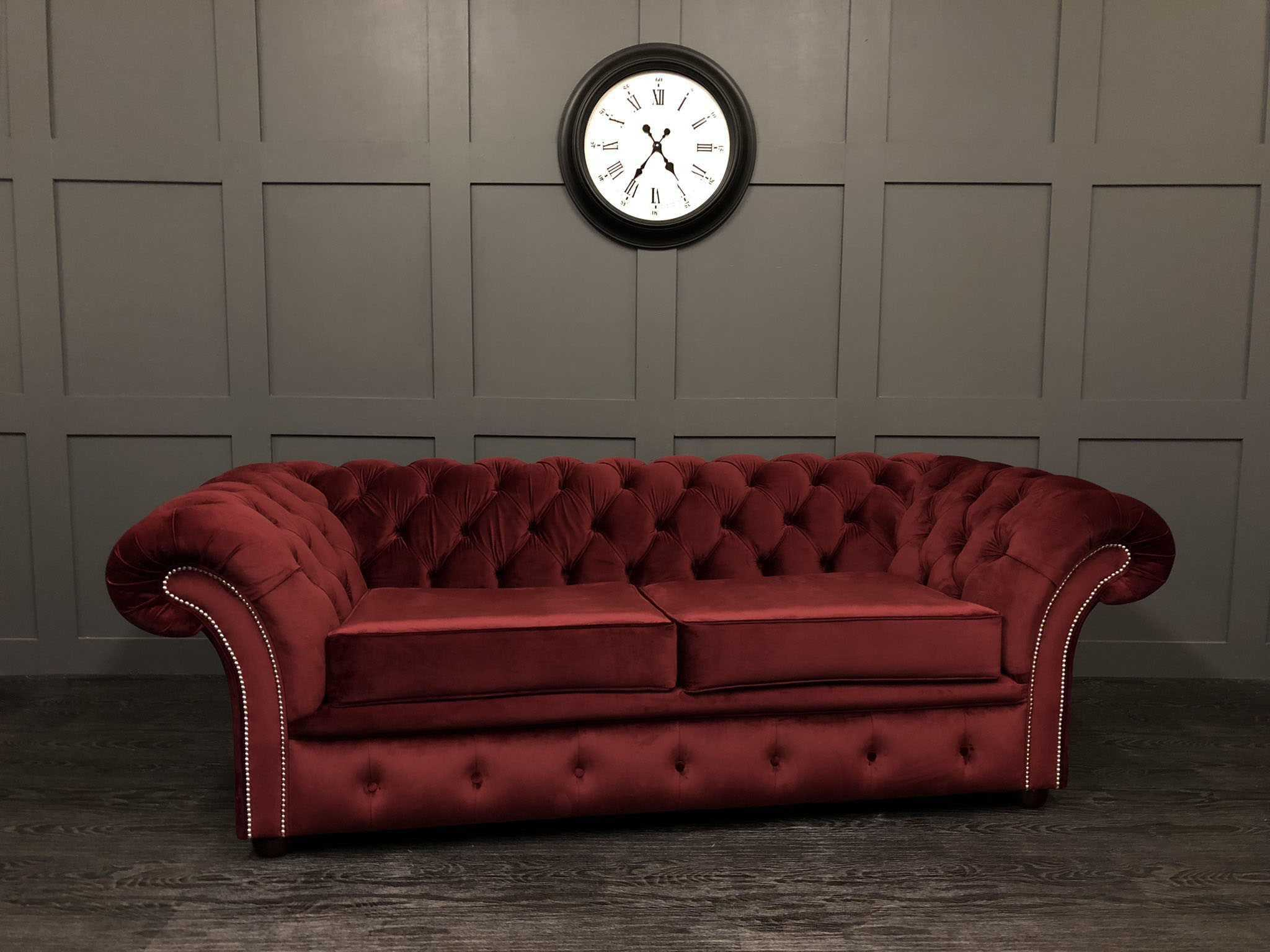 London 2 seat chesterfield sofa bed cambio burgundy velvet