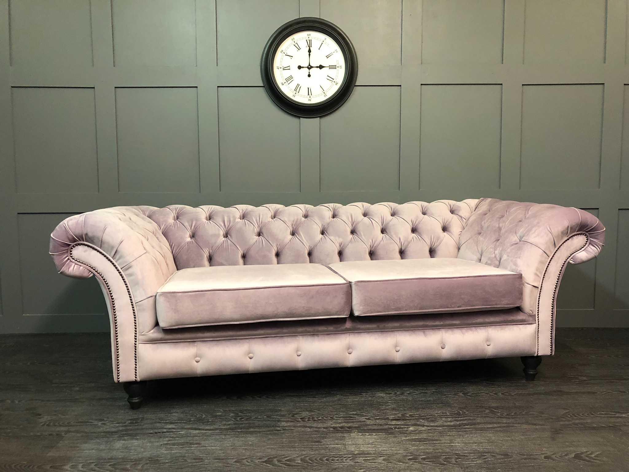 London chesterfield 3 seat sofa prestigious textiles heather velour