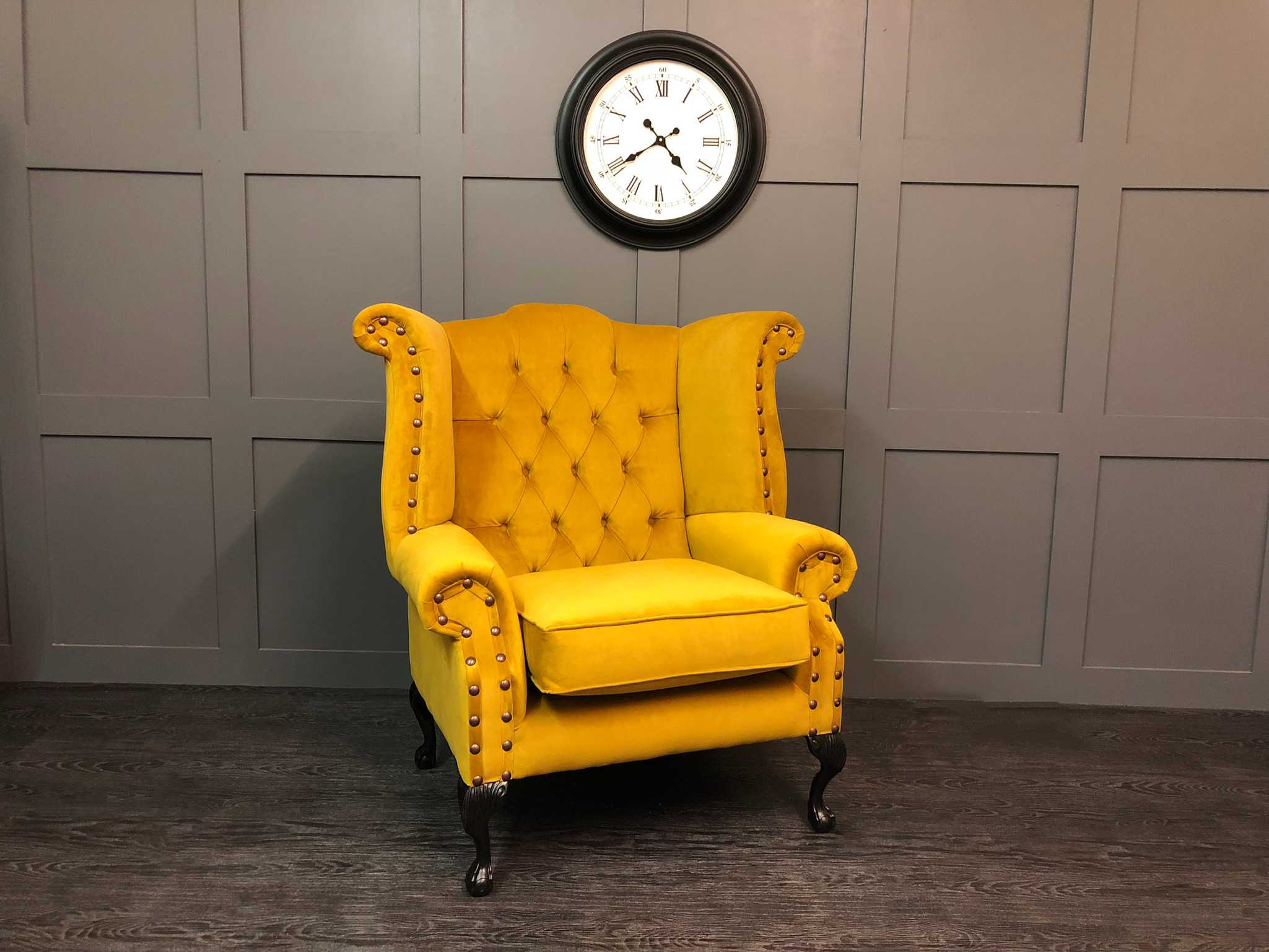 The Orpington Plush Velvet Turmeric Wing Chair