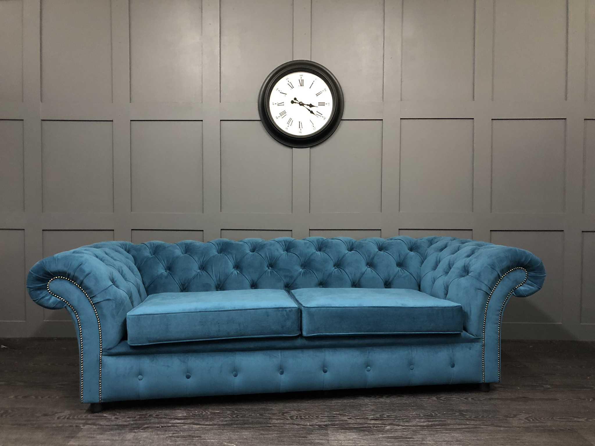 London chesterfield sofa bed in warwick plush velvet mallard