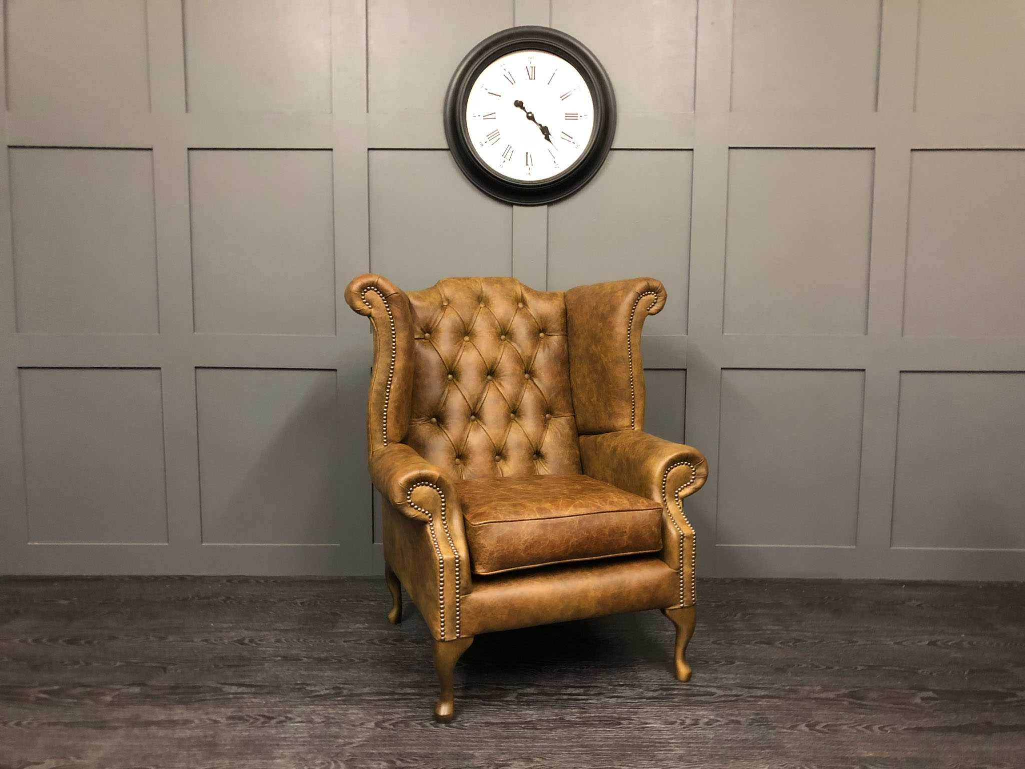 vintage cognac wing chair