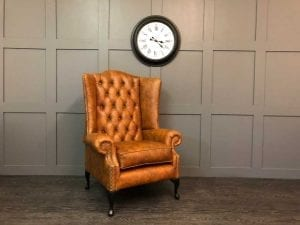 Oakley wing chair in vintage tan leather