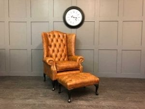 Oakley Wing Chair & Footstool in Vintage Tan Leather